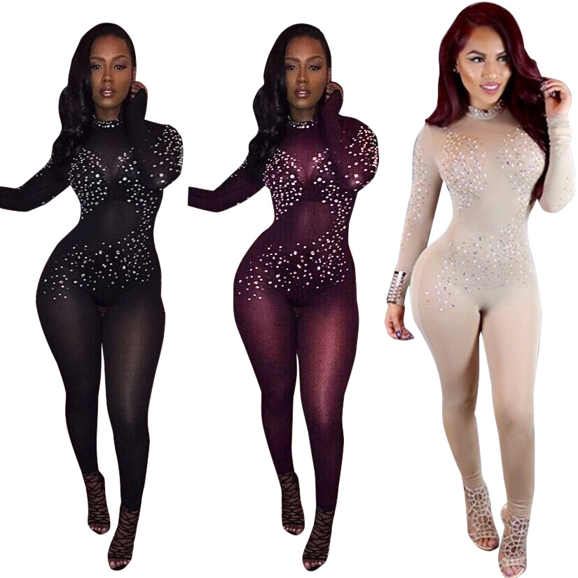 70e821d744 2019 Wholesale 2017 Hot Sexy See Through Women Black Mesh Jumpsuit ...