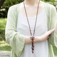 民族風飾品批發藏銀魚陶瓷長款項鏈棉麻服裝配飾毛衣鏈NO.3178