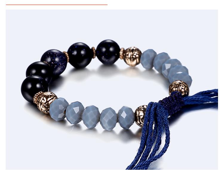 Alloy Bohemia Geometric bracelet  (Ancient alloy + blue) NHTF0225-Ancient-alloy-blue