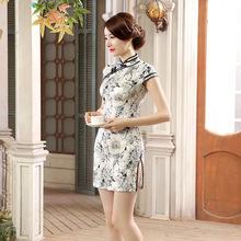 新款春夏短款旗袍裙时尚修身连衣裙青花瓷改良中国风LGD42