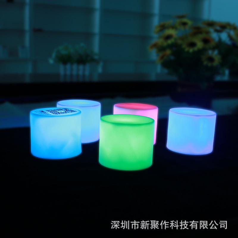 创意5元以下促销礼品七彩发光圆柱小夜灯 卧室浪漫气氛小夜灯