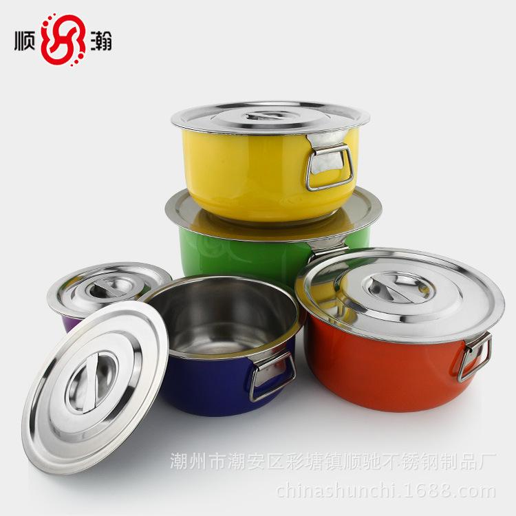 不锈钢彩色汤锅 带耳钢盖厨房调理锅 5件套装锅炊具 出口跨境礼品