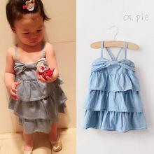新款供应外贸原单韩国女童公主连衣裙 儿童?#21487;?#21514;带裙蛋糕裙