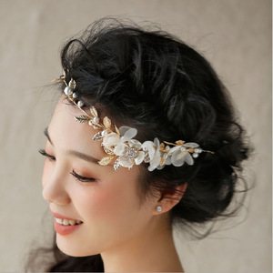 Hairpin hair clip hair accessories for women Hand made gold leaf short hair wedding forehead decoration wedding dress accessories