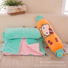 卡通靠墊被子兩用辦公室空調被午休長枕頭被子靠枕沙發糖果抱枕被