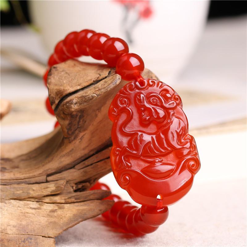 天然红玛瑙十二生肖手链 新品手链 民族风生肖手链