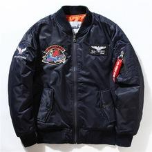 欧美MA1飞行员刺绣夹克男士 冬季 刺绣小鬼肩章薄款风衣厂家贴牌