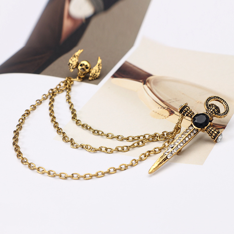 Vintage Alloy plating brooch(Golden)NHGY1505-Golden