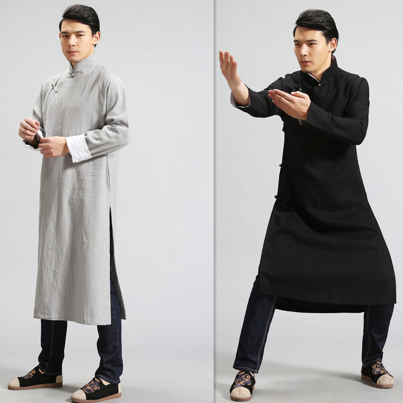 Hanfu Taichi Clothing d designed men loose linen cotton linen black men cardigan coat