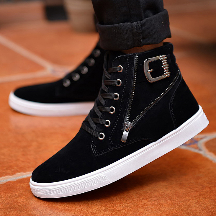 2021 autumn and winter new men's Martin boots belt buckle trendy men's board shoes Korean high top shoes British casual men's shoes
