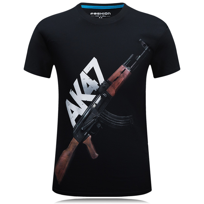2019 Men's Summer Original 3d Short-sleeved European And American Cross-country Large Size Fashion Round Neck Men's T-shirt - Ak47