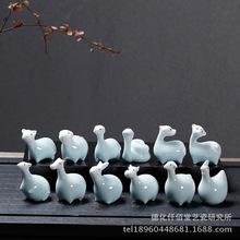 创意家居工艺品生肖摆件礼品客厅酒柜装饰品陶瓷茶宠多肉微景观玩