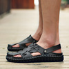 2017 summer skin drag boys sports beach shoes casual sandals personality breathable Leather Men summer cool tow