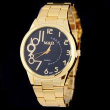 新款时尚MH不锈钢合金表带大表盘石英表 外贸热销男士商务钢带表