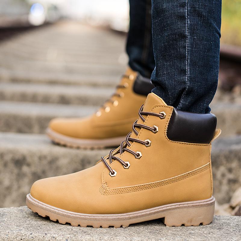 秋冬情侣马丁靴男户外工装棉靴男士靴子高帮男鞋大码军靴批发代发