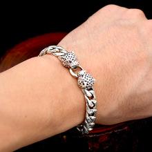 批發s925純銀飾品 男士款時尚個性復古泰銀雙豹子頭手鏈大方送禮