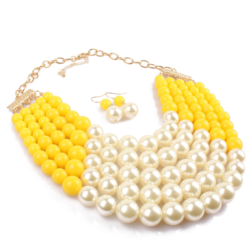 Occident and the United States pearlNecklace Set (yellow)NHCT0017-yellow