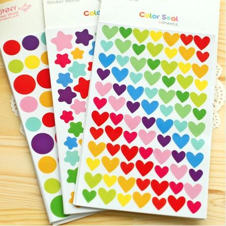 愛心星星可愛彩色貼紙手帳成長手冊兒童卡通貼畫手工DIY相冊材料