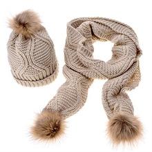 女士毛線針織圍巾帽子套裝 亞馬遜 速賣通 秋冬菱形兩件套(1)