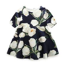 一件代发夏秋冬款女童连衣裙收腰修身显瘦黑底白色花朵公主连衣裙