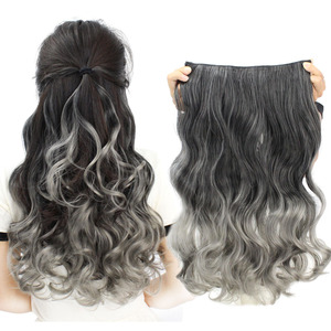Wig female color wig piece spot dyed one piece five card hair piece gradient traceless color hair piece long curly hair