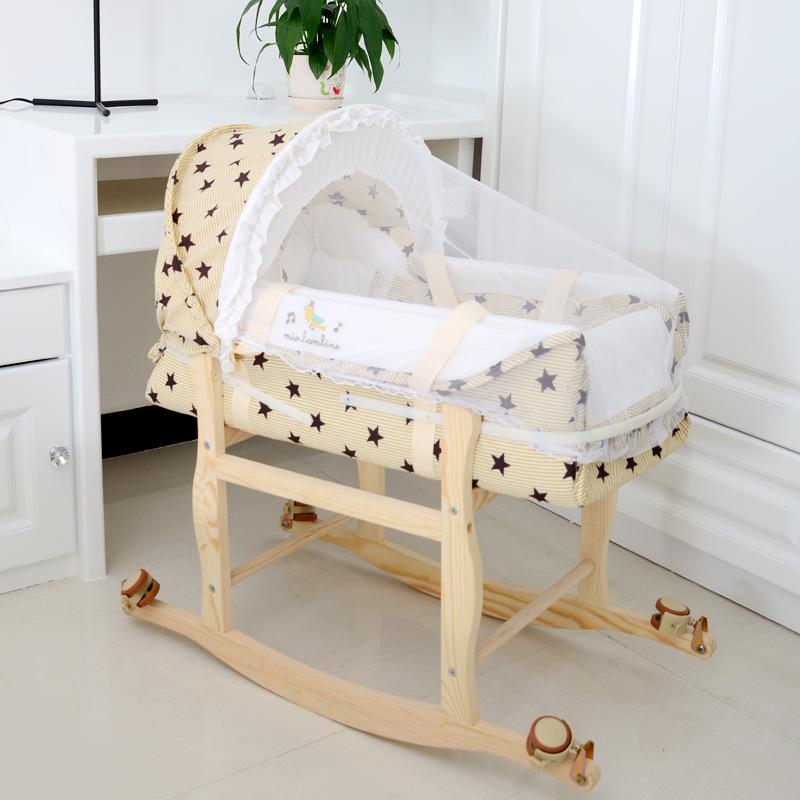 标准版婴儿床便携式婴儿摇提篮童车小床宝宝睡篮床带蚊帐木架轮子
