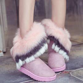 廠家直銷 冬季 仿狐狸毛兔毛雪地靴 女士中筒靴 保暖鞋 流苏棉鞋