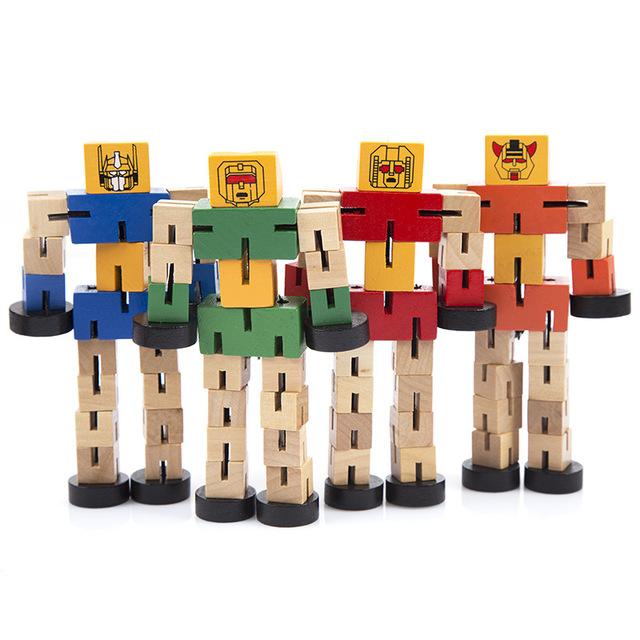 Đồ chơi xác thực có thể bị biến dạng bằng gỗ ma thuật xe người 6 robot biến dạng gỗ ngẫu nhiên Mô hình robot