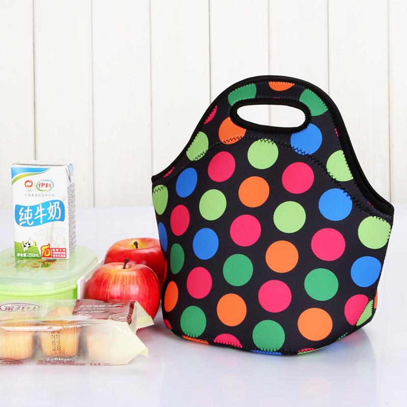 潜水料午餐包带饭包防水保温饭盒袋便当包手提妈咪包午餐野餐包