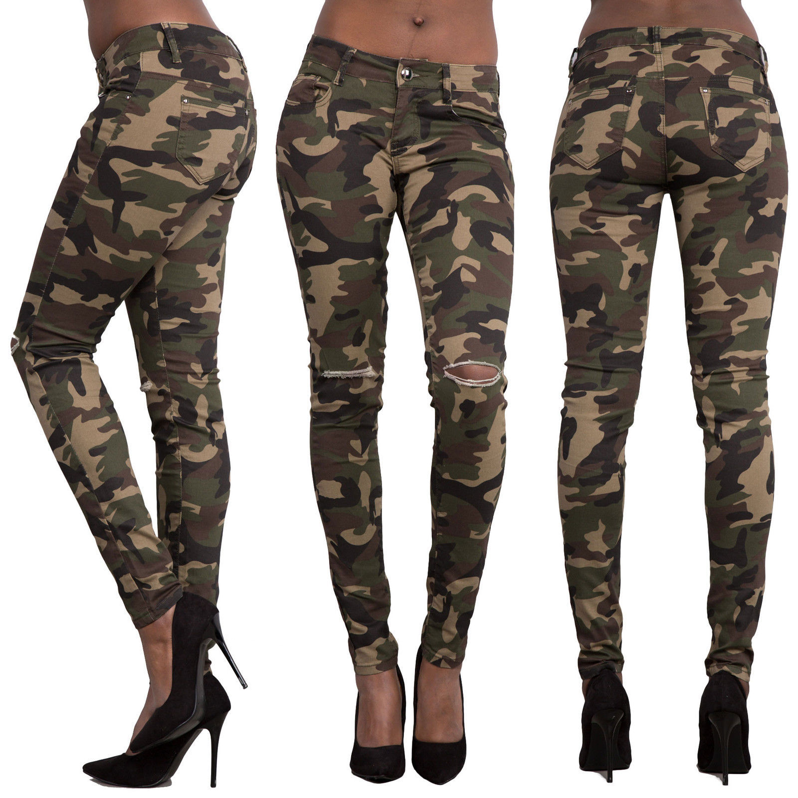 f15acff9c6 Woman pants casual slim sexy camouflage army green girls fashion military  pencil trousers with hole and pockets