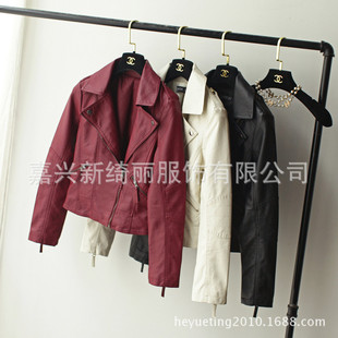 Factory direct leather female short paragraph 2017 Spring and Autumn lapel PU washed leather motorcycle jacket women