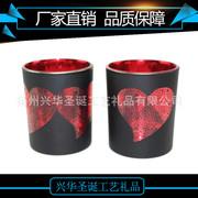 厂家直销电镀雕刻玻璃蜡烛杯  圣诞玻璃烛台  玻璃蜡烛杯家装饰品