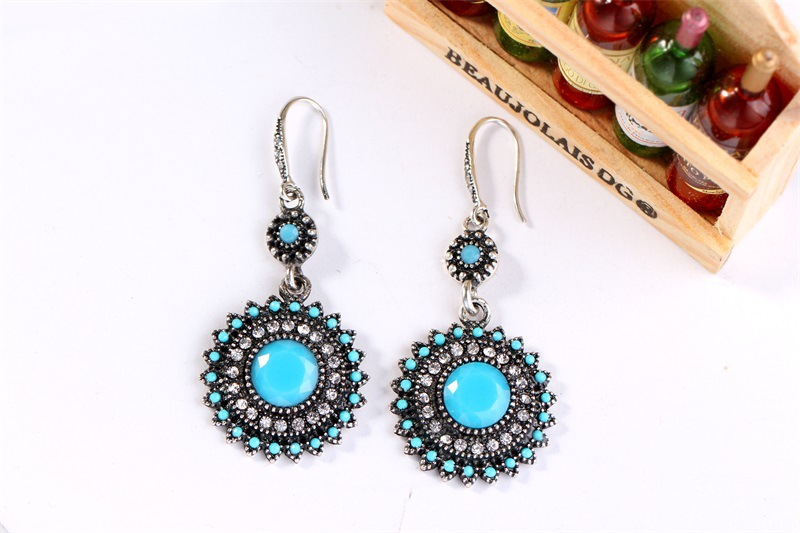 Occident and the United States alloy Diamond earring (Ancient KC Golden Pine Blue)NHKQ1197-Ancient KC Golden Pine Blue