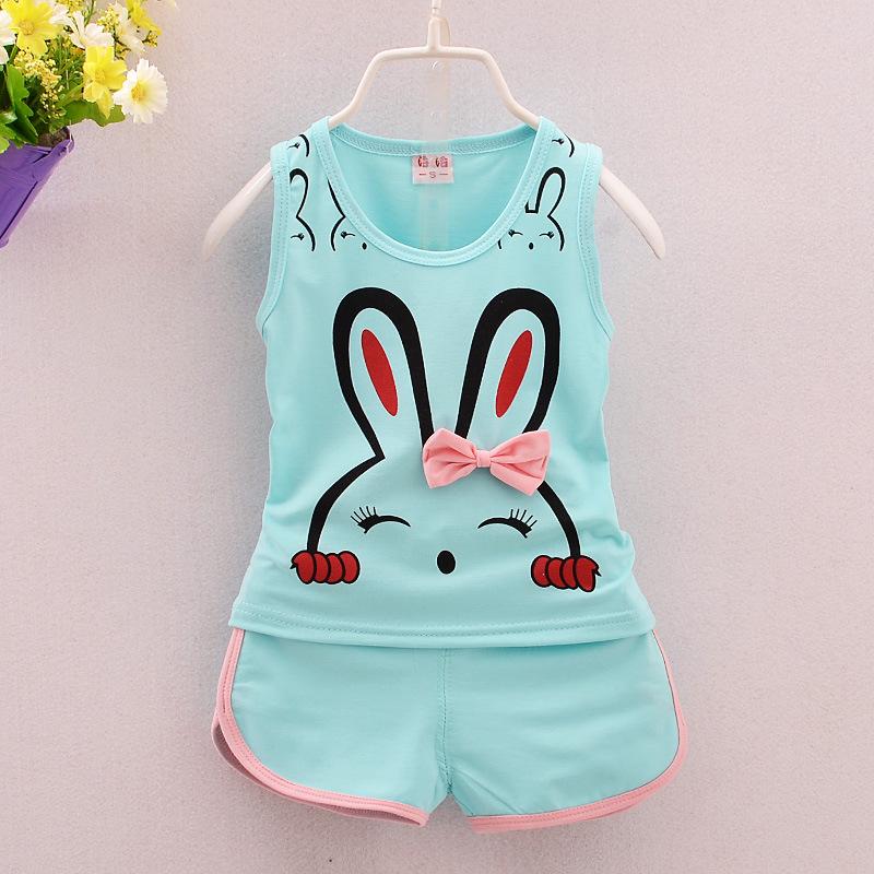 19夏季新款女童背心套装0-4岁小兔子印花中小童蝴蝶结厂家直销爆
