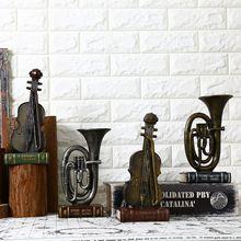 欧式复古乐器做旧咖啡厅酒吧家居饰品客厅卧室电视机柜装饰摆件