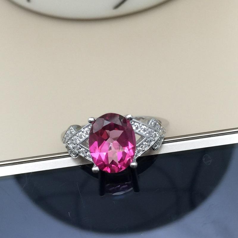 天然粉托帕戒指批发 925纯银批发 媲美红碧玺 支持鉴定