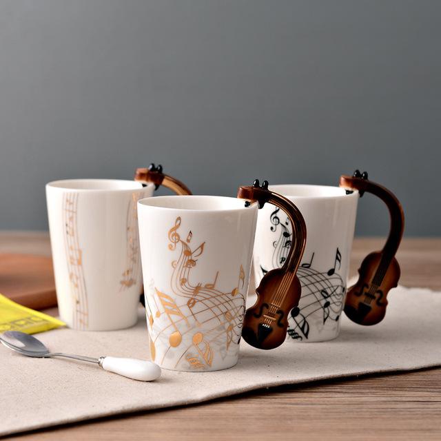 Âm nhạc cốc cốc cốc gốm sáng tạo cốc cà phê guitar điện nhạc cụ sứ hộp quà tặng men tinh tế Hộp quà