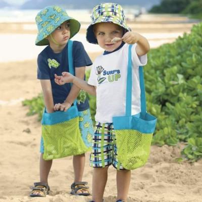 小号户外儿童沙滩玩具快速收纳袋挖沙工具杂物收纳网2色