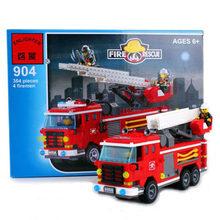 啟蒙積木小顆粒拼裝模型6-12歲兒童玩具消防系列三橋消防車全套