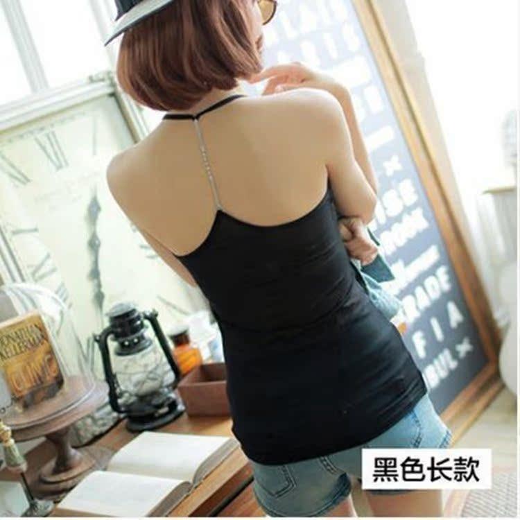 韩版夏季女装后背水钻链条网纱莫代尔修身Y字打底吊带背心批发