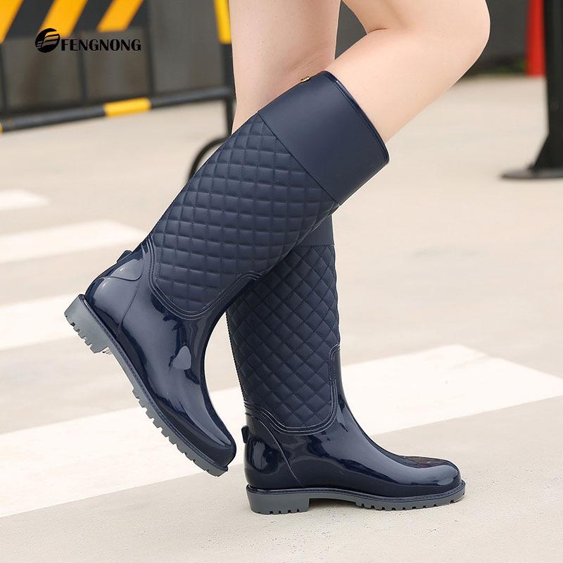 厂家批发时尚女式雨鞋秋冬款高筒水鞋菱形格子雨靴保暖胶鞋