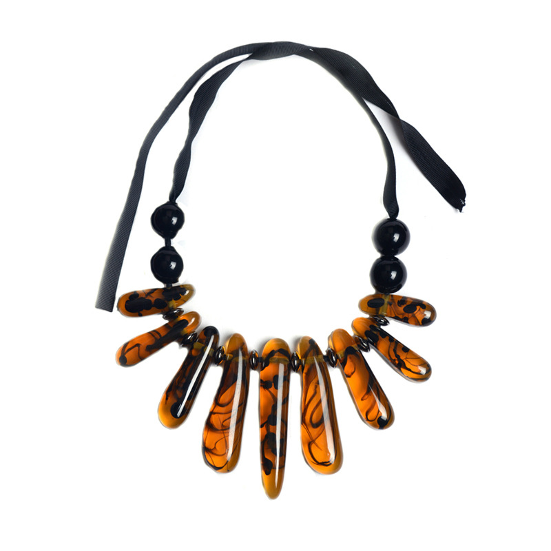 Occident and the United States alloy plating necklace (brown) NHWF0185
