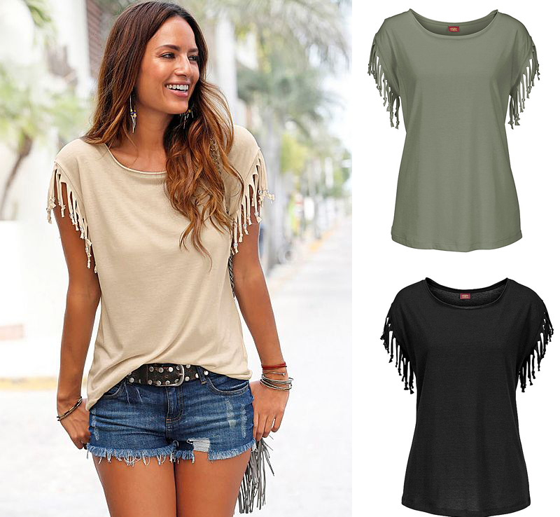 bce98406d Summer European Girl T-shirt Clothes Short Sleeved Tassels T-shirts For  Women Wholesale Solid color Female T-shirts Free Shipping