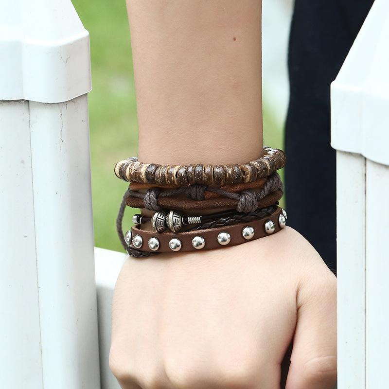 Vintage woven suit leather bracelet NHPK145677