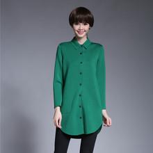 2018春装新款女装保暖衬衣中长款修身显瘦长袖加厚黑色衬衫