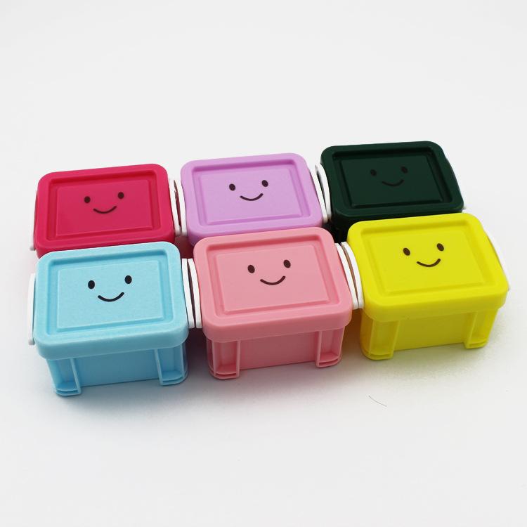 糖果色笑脸锁扣迷你桌面杂物收纳盒首饰串珠药丸整理盒零件配件盒