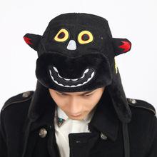 时尚韩版新款潮流卡通蝙蝠雷锋帽 休闲加厚灯芯绒护耳帽 情侣帽子