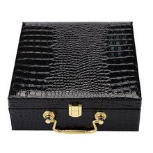 现货翻盖皮革腰带礼品盒黑色鳄鱼纹通用皮具包装盒高档手提皮带盒