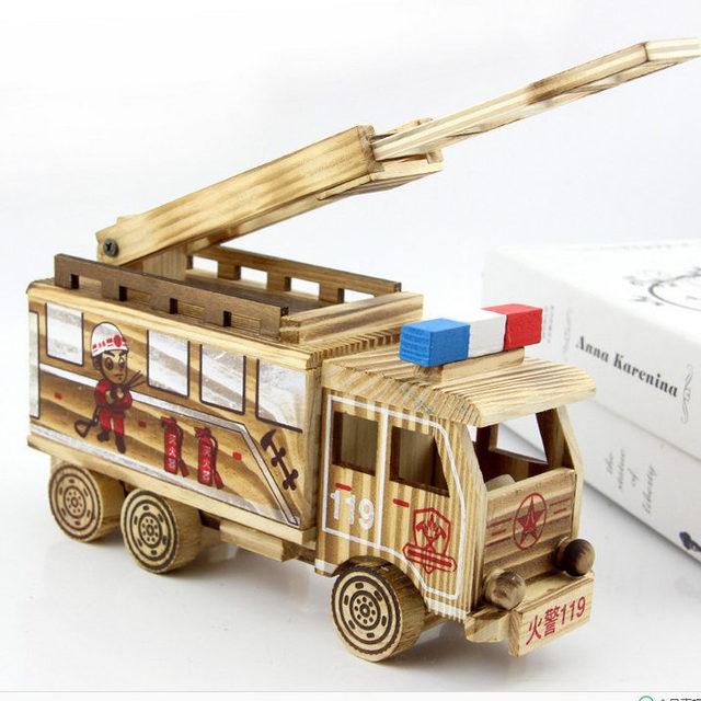 木制工艺品摆件迷你消防车模型家居办公会所摆设品景区热