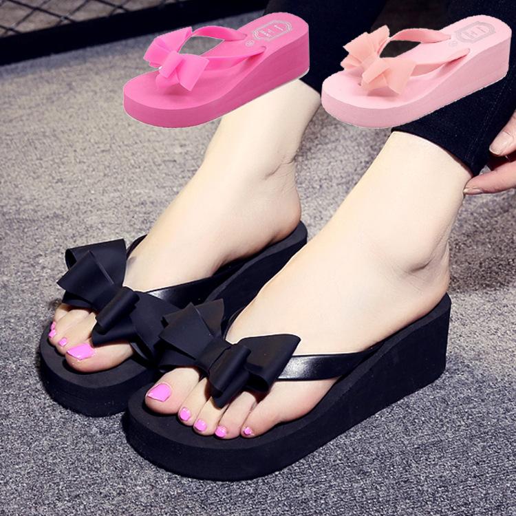 夏季爆款拖鞋 韓版蝴蝶結夾腳人字拖 厚底防滑高跟涼拖鞋女式